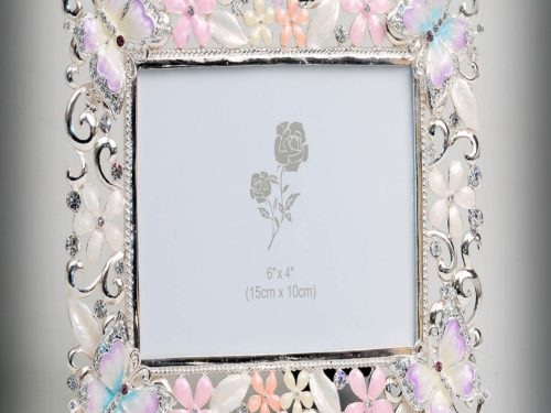 A splendid butterfly enameled crystal photo frame
