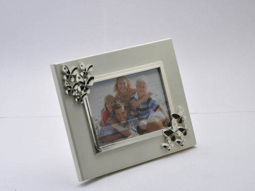 An Elegant Butterfly Silver Photo Frame on Wooden Base