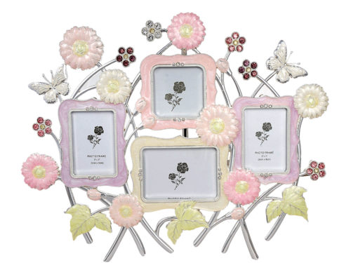 A Unique Multi-Picture Enameled Crystal Studded Family Photo Frame
