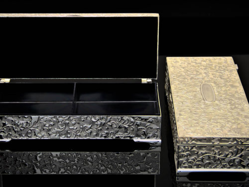 Rectangle two Partition Silver Box