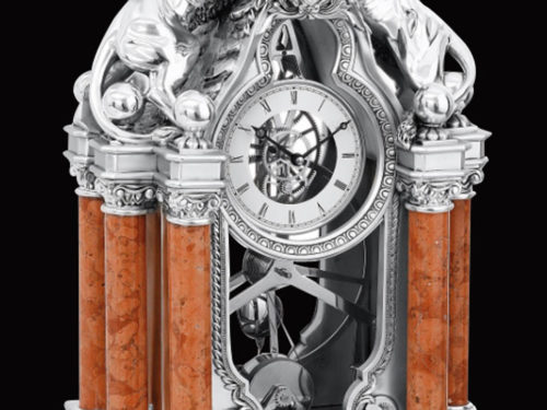 Baroque Styled Lions On Marble Columns Silver Clock