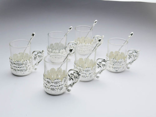 Flower Design Silver Coffee Mug,Set of 6