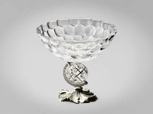 Glass Globe Silver Bowl