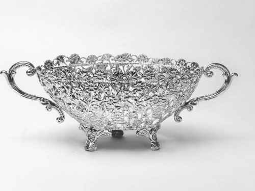 Oval Cutwork Flower Design Silver Bowl-medium