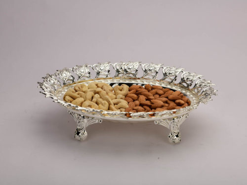 Peacock Leaf Border Oval Silver Bowl-Medium