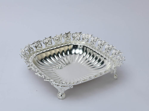 Peacock Leaf Border Round Silver Bowl