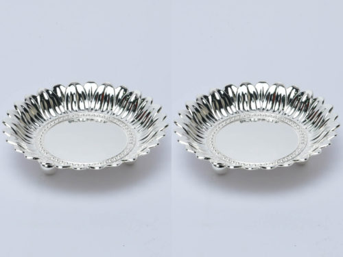 Round Carved Silver Bowl