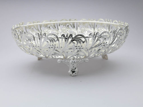 Round Cutwork Silver Bowl-Medium