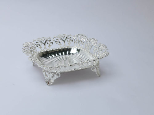 Square Wire Motif Silver Bowl