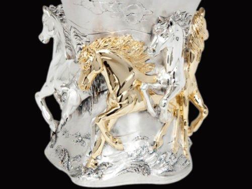 Unique Horses Silver Vase