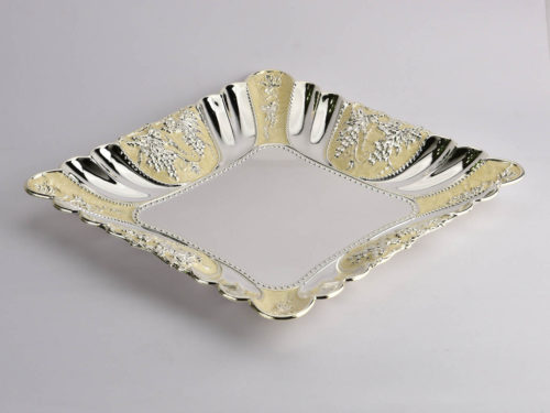 Square Enamelled Silver Plate