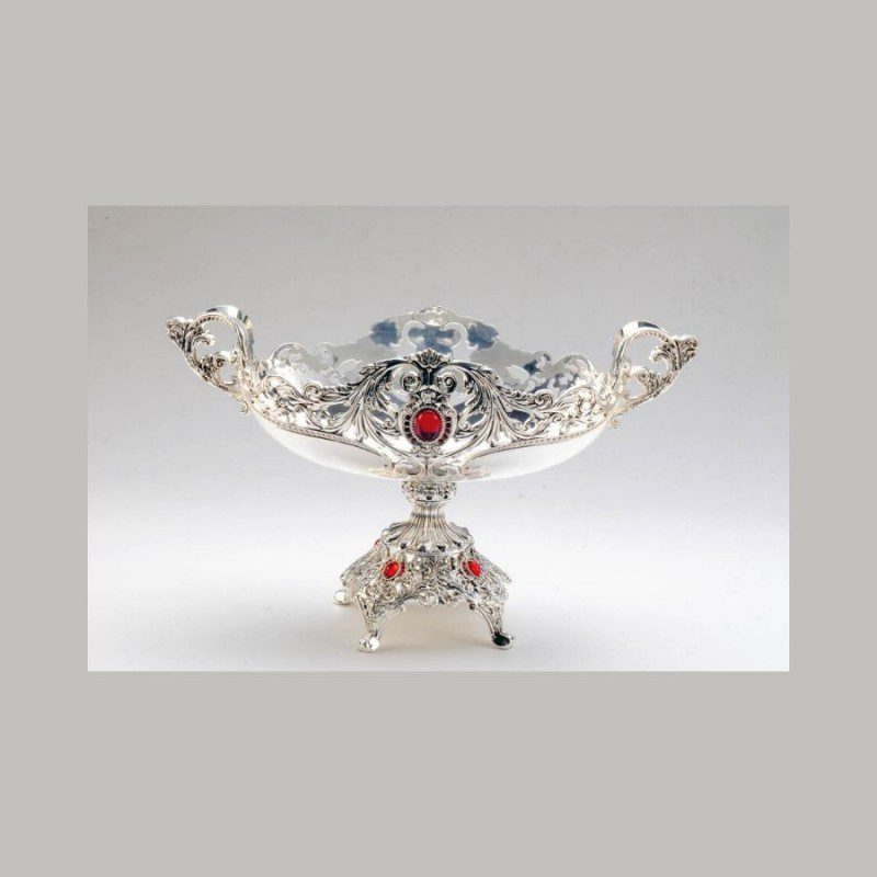 Oval Antique Ruby Stone Studded Silver Bowl With Stand - Small