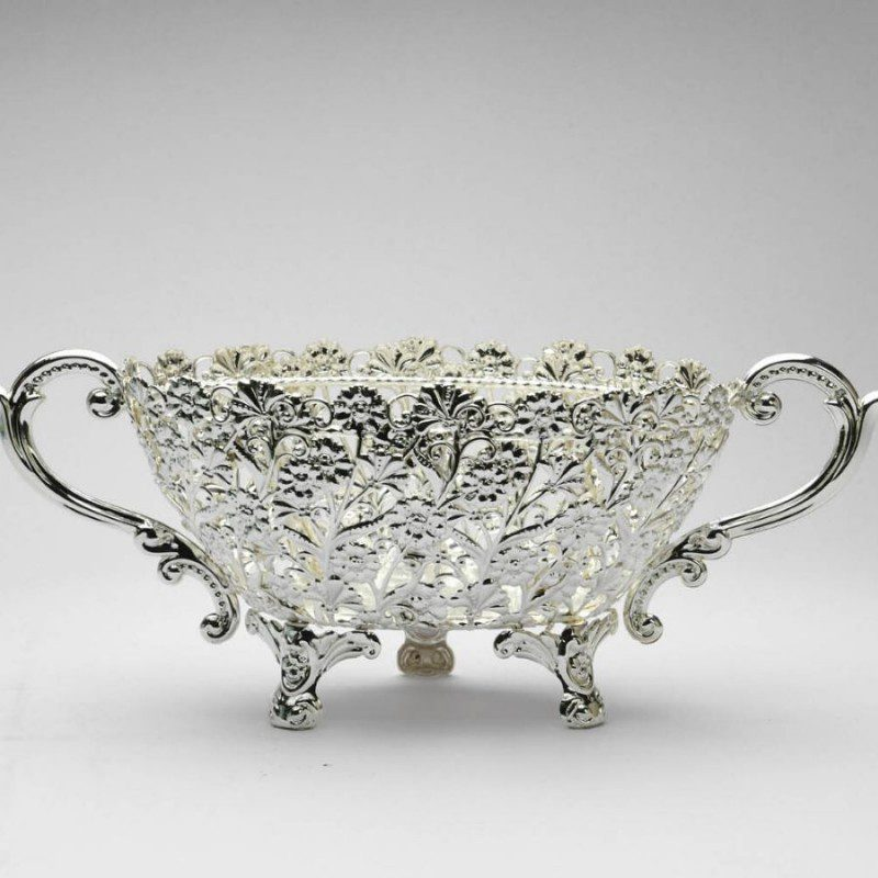 Oval Cutwork Flower Design Silver Bowl,Size-Medium