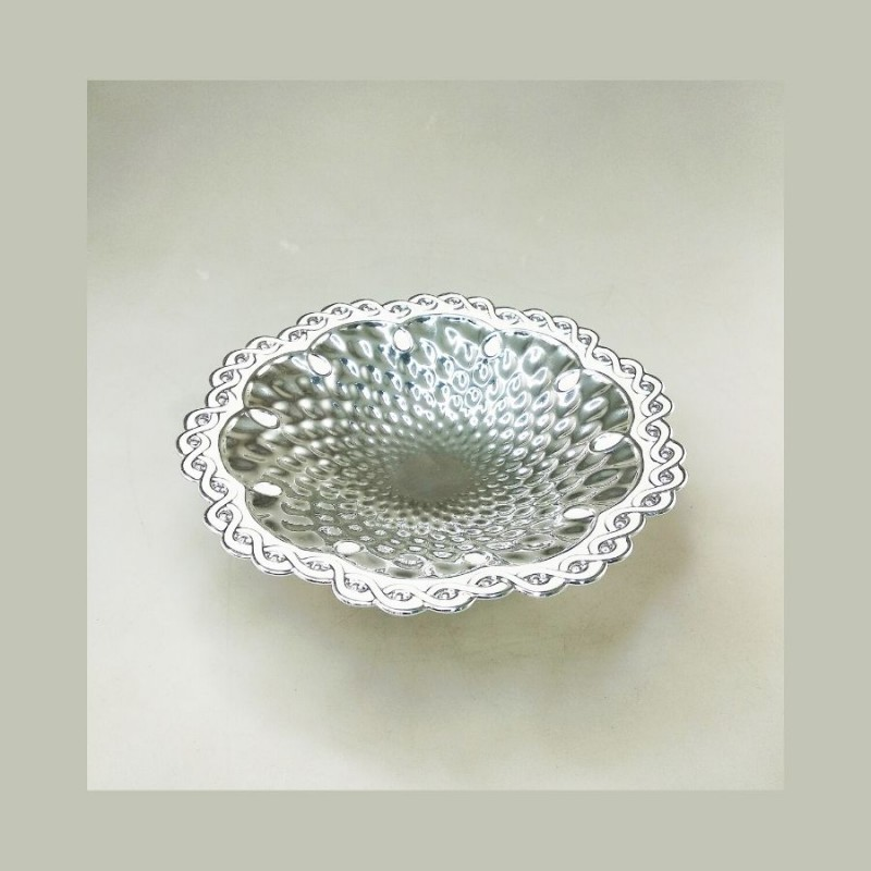 Round Hammered Silver Bowl