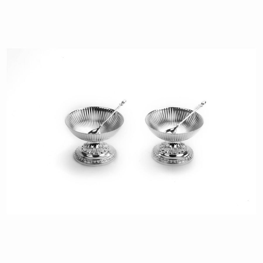 Fluted Design Silver Ice Cream Bowls-Set of 2