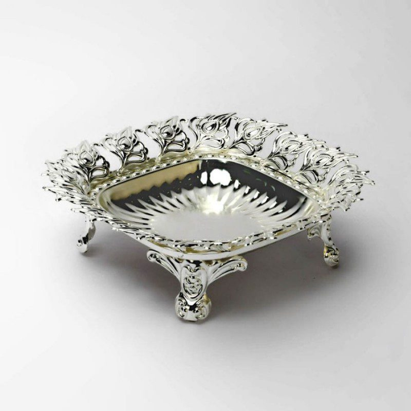 Peacock Leaf Border Round Silver Bowl,Size-Medium