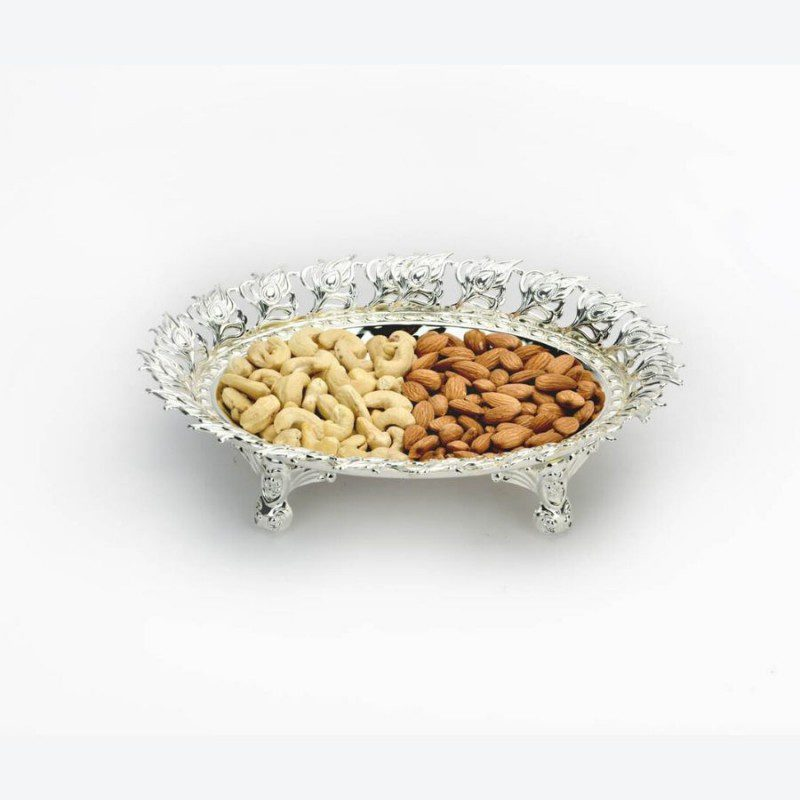 Peacock Leaf Border Square Silver Bowl,Size-Medium