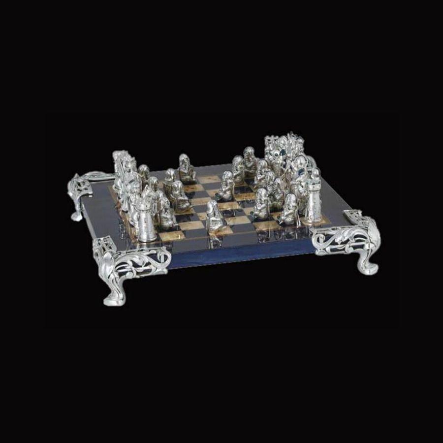 Antique Silver Chess Set