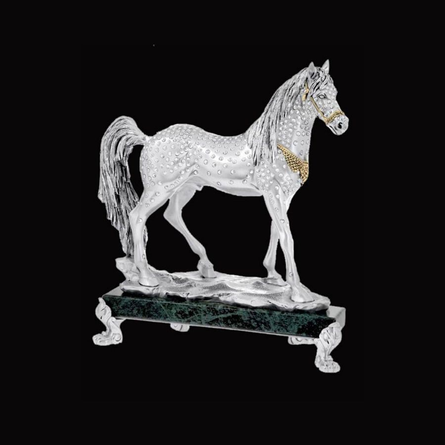 crystal-studded-marble-base-silver-horse