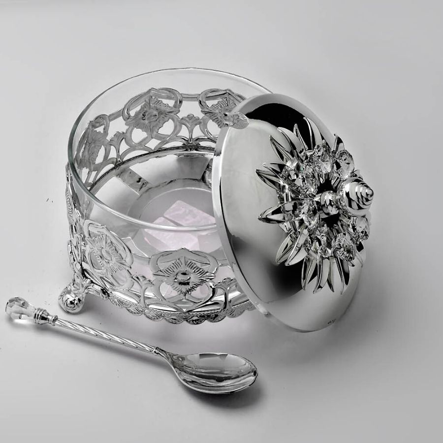 Crystal Sugarpot With Spoon