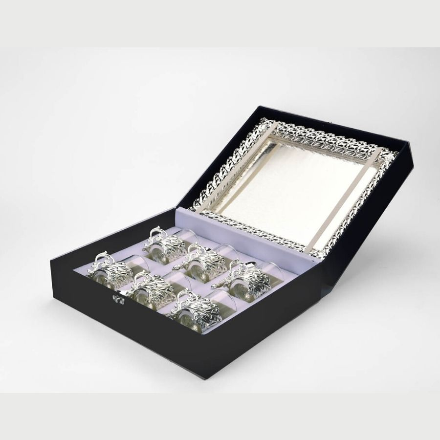 Set of Tray, Glass, Spoon and Sugar Pot (Size- 13x11)