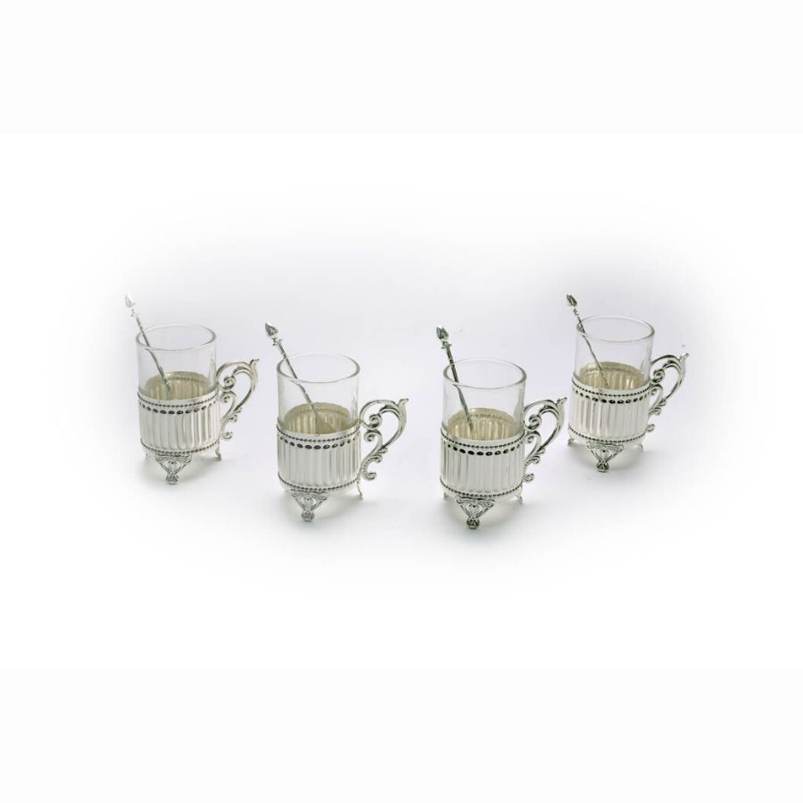 fluted-design-silver-mugs-with-stand-set-of-4