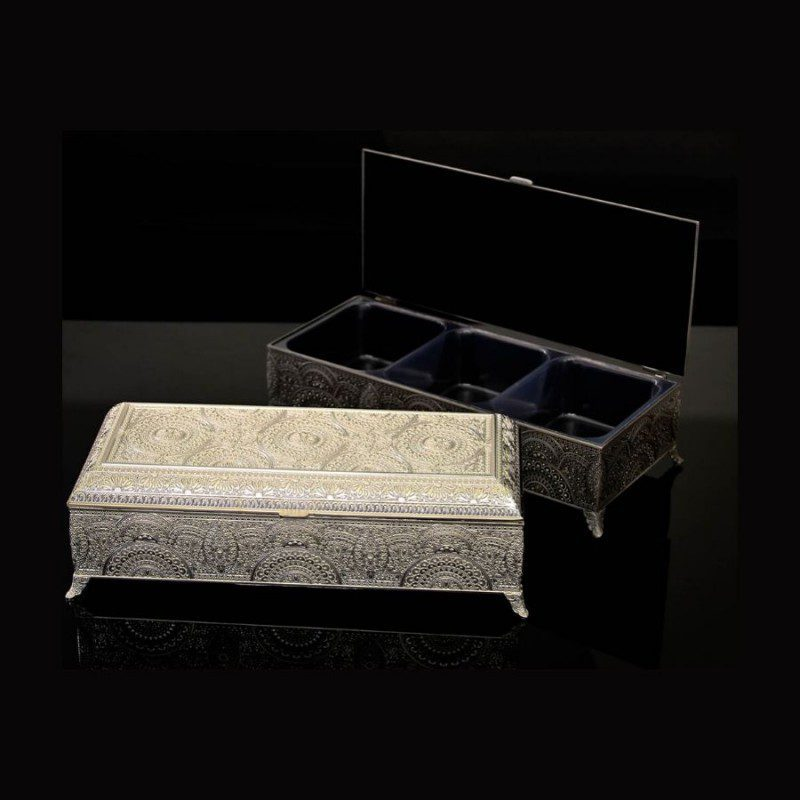 Rectangle Carved Silver Box