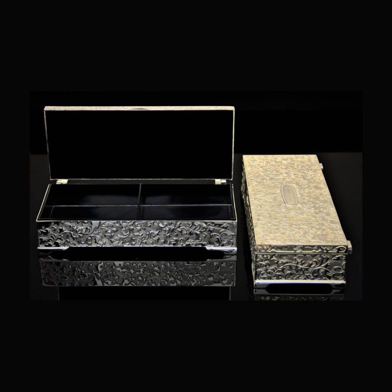 silver dry fruit box, silver jewelry box, silver box online, silver gift box, german silver box, personalised jewellery box, silver plated dry fruit box, silver plated jewelry box