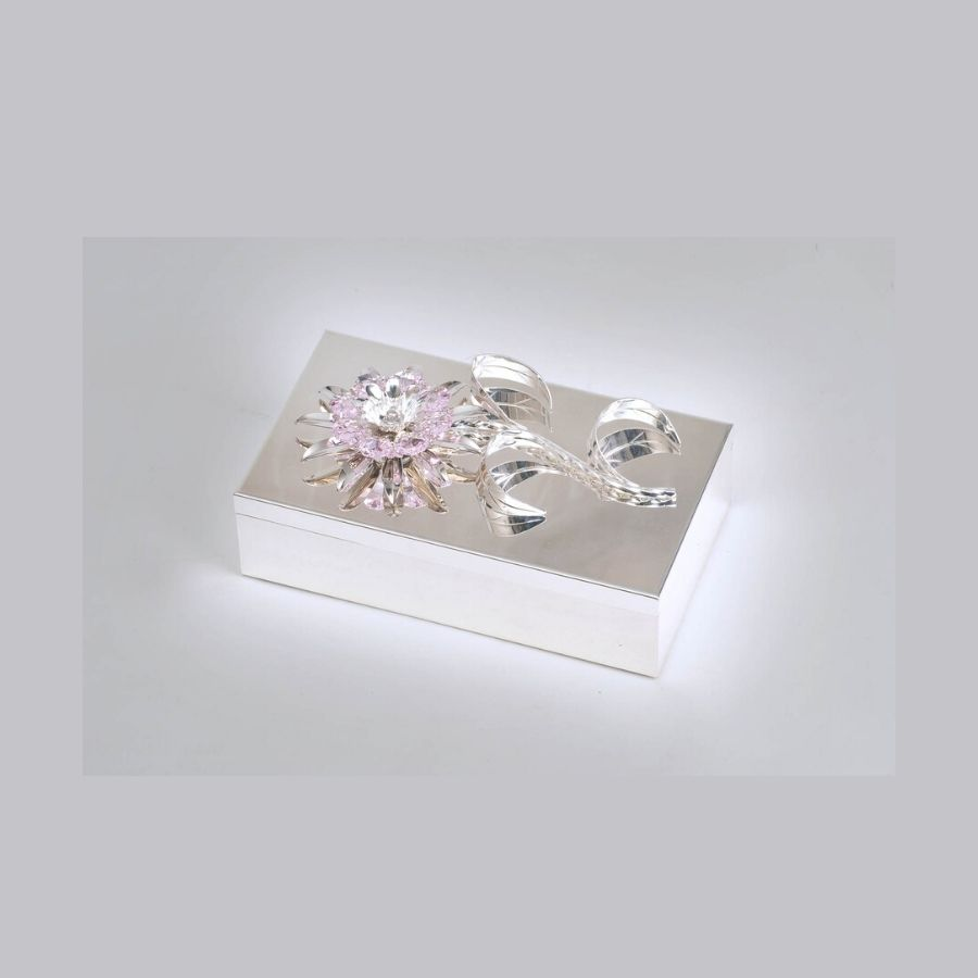 Pink Crystal Studded Silver Box