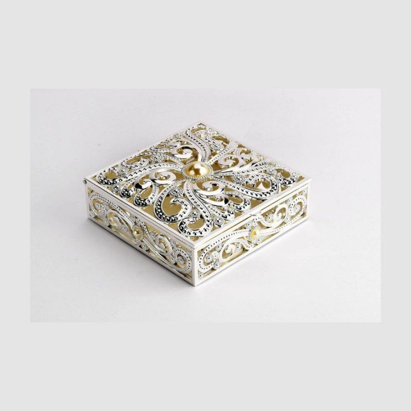 Square Cutwork Pearl Silver Jewelry Box