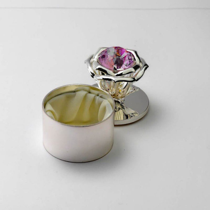 Pink Crystal Silver Box (small)