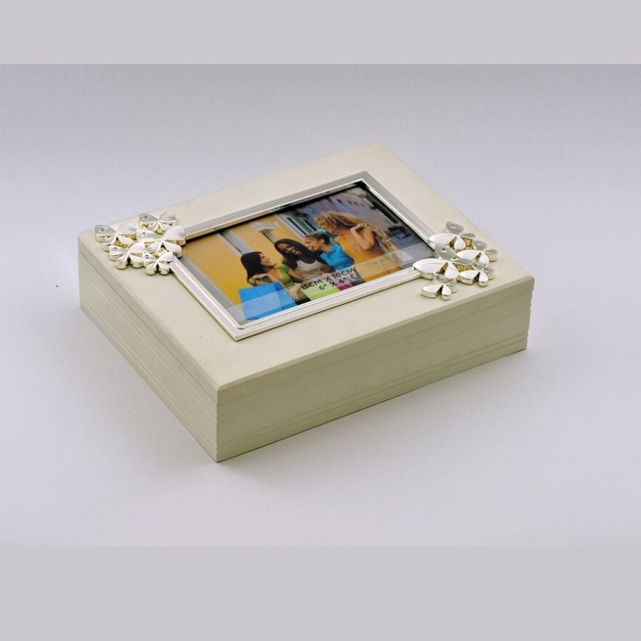 Butterfly silver box on wood