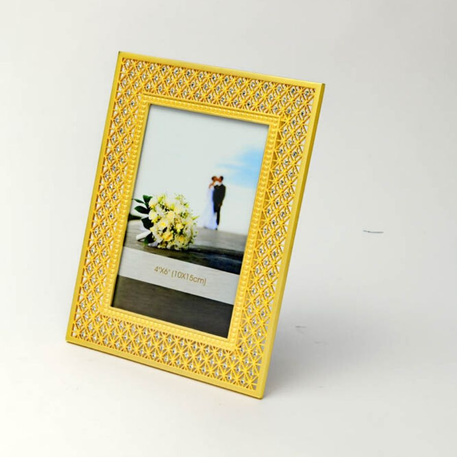 Crystal Studded Silver Photo Frame (Golden)