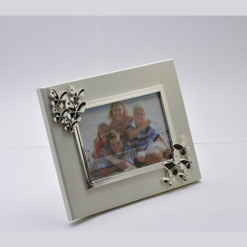 Butterfly Silver Photo Frame on Wooden Base