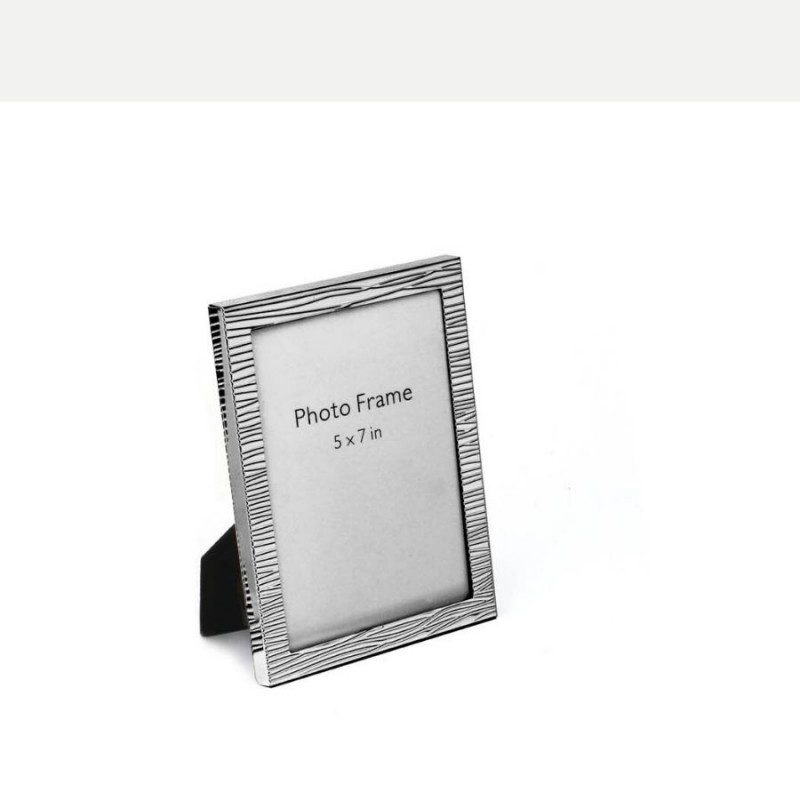 Modern Fluted Texture Silver Photo Frame, Size-5x7