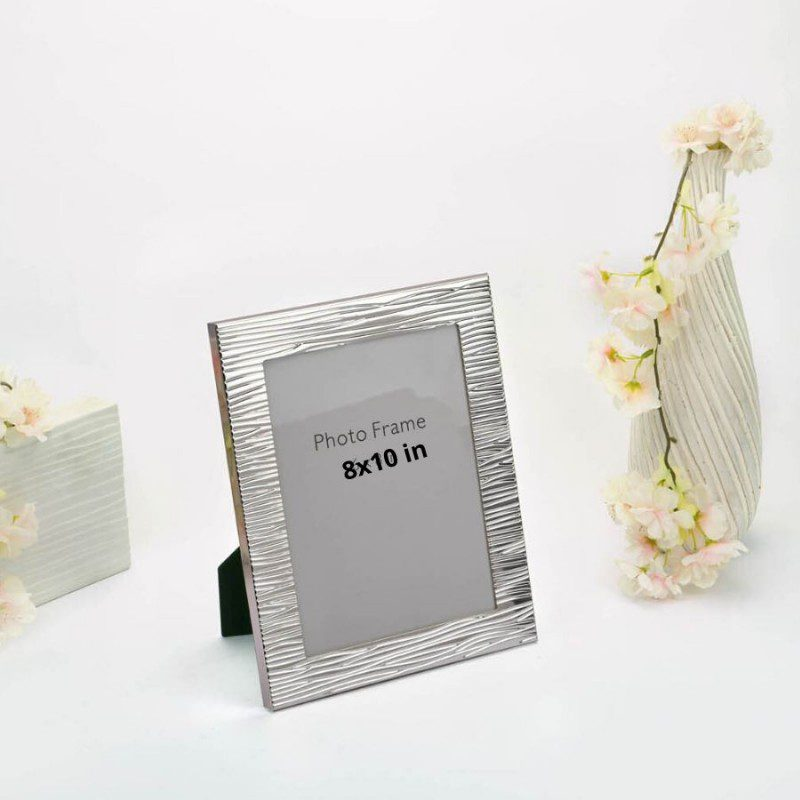 Modern Ridged Border Silver Photo Frame, Size-8x10