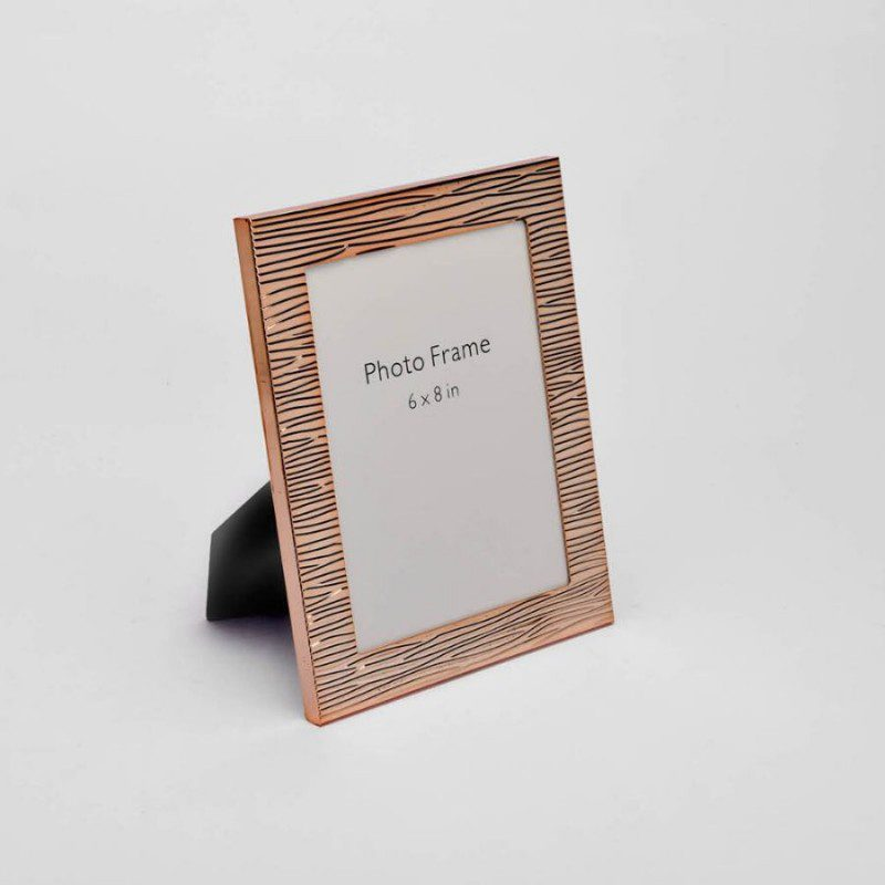 Rose Gold Fluted Design Photo Frame, Color-Rose Gold, Size-6x8