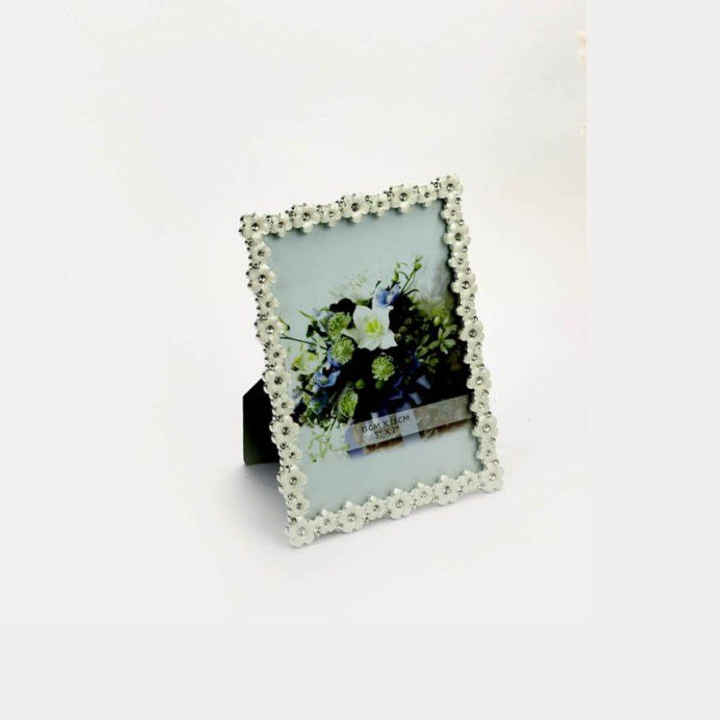 Enameled Single Layer Silver Photo Frame