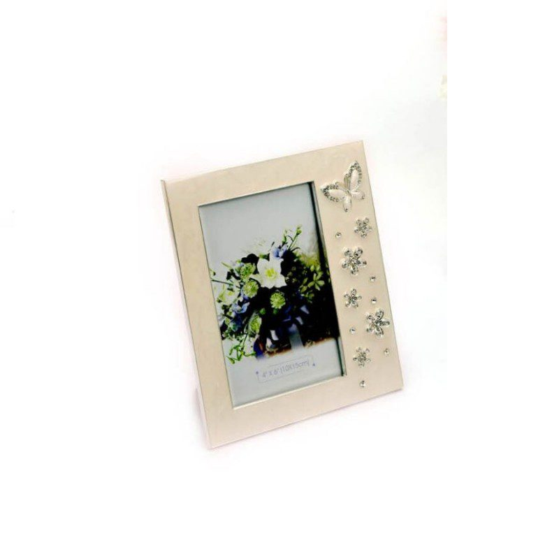 White Enamel Butterfly Photo Frame