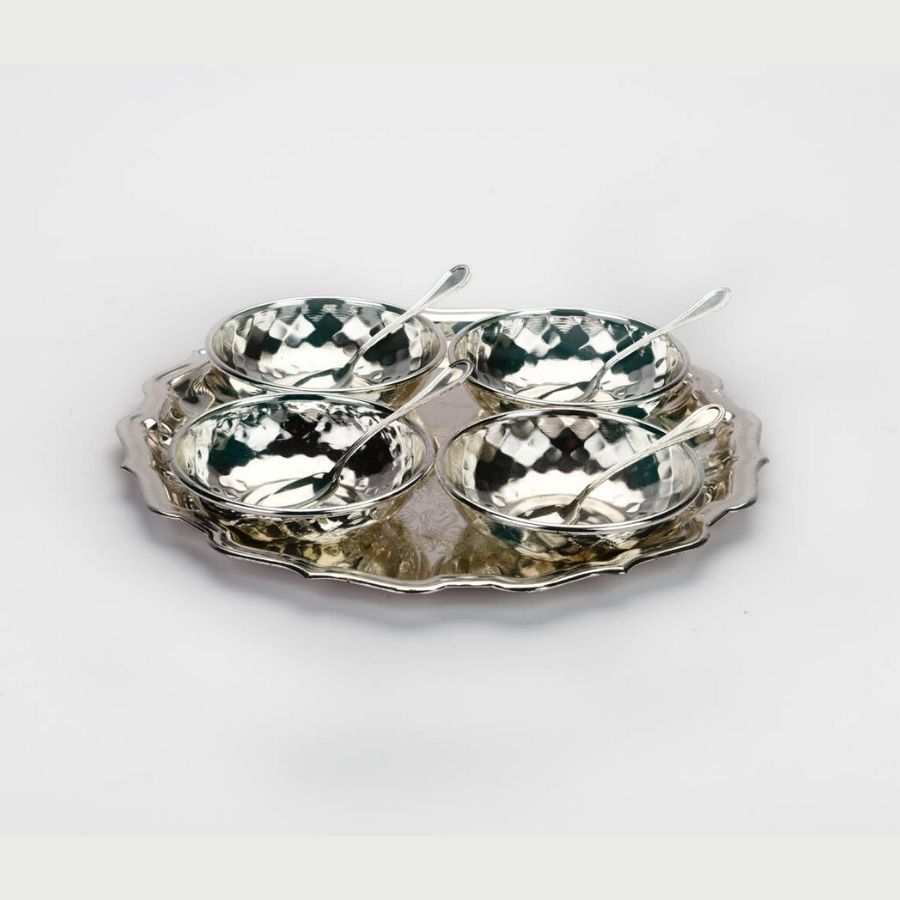 hammered-design-bowls-with-round-tray-set-of-4