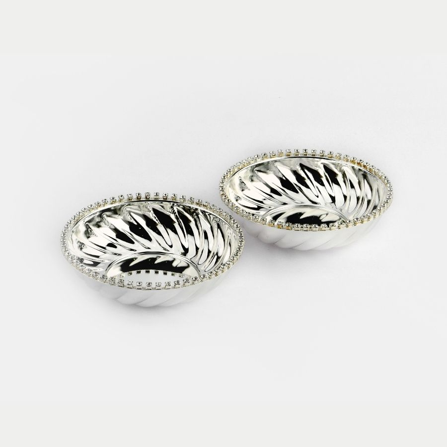 Crystal Rim Fluted Silver Plated Bowls Set